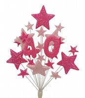 Number age 40th birthday cake topper decoration in shades of pink - free postage